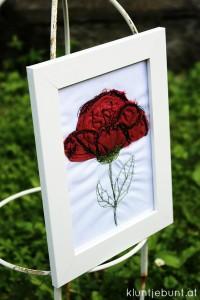 3D Blumenapplikation in Bilderrahmen, Nähanleitung und Tutorial